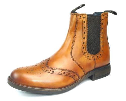 Frank James - Chepstow Tan Brogue Chelsea Boots